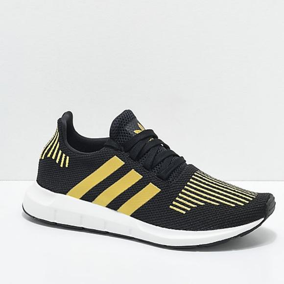 Adidas Swift Run Black & Gold Shoes Men's Sz 8